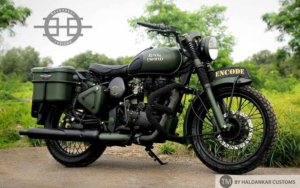 Encode Beautifully Painted Military Green Royal Enfield Classic