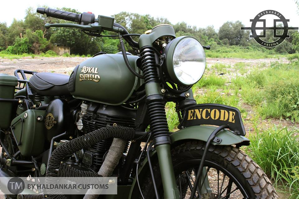 Encode ~ Beautifully painted Military Green Royal Enfield Classic