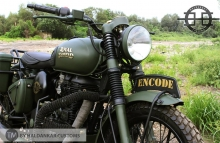 Modified Royal Enfield Classic in Military Green Paint Haldarkar Customs