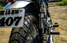 Modified Scrambler Off Road Tyre on Royal Enfield Classic 350