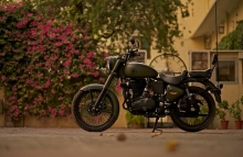 military_green_royal_enfield_bullet_by_Rajputana_custom_motorcycle_RCM_side_view
