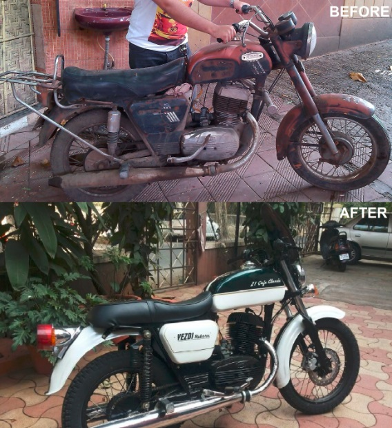 Restored_Yezdi 250 21 cafe classic - before after