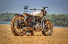 Modified Royal Enfield tracker by Inline3 Custom Motorcycles