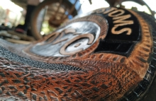 Royal Enfield Handmade leather seat Viking ~ A scratch built Royal Enfield Bobber by Vega Choppers