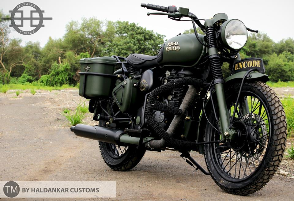 Green Modified Royal Enfield Buller in Military color Paint Haldarkar Customs