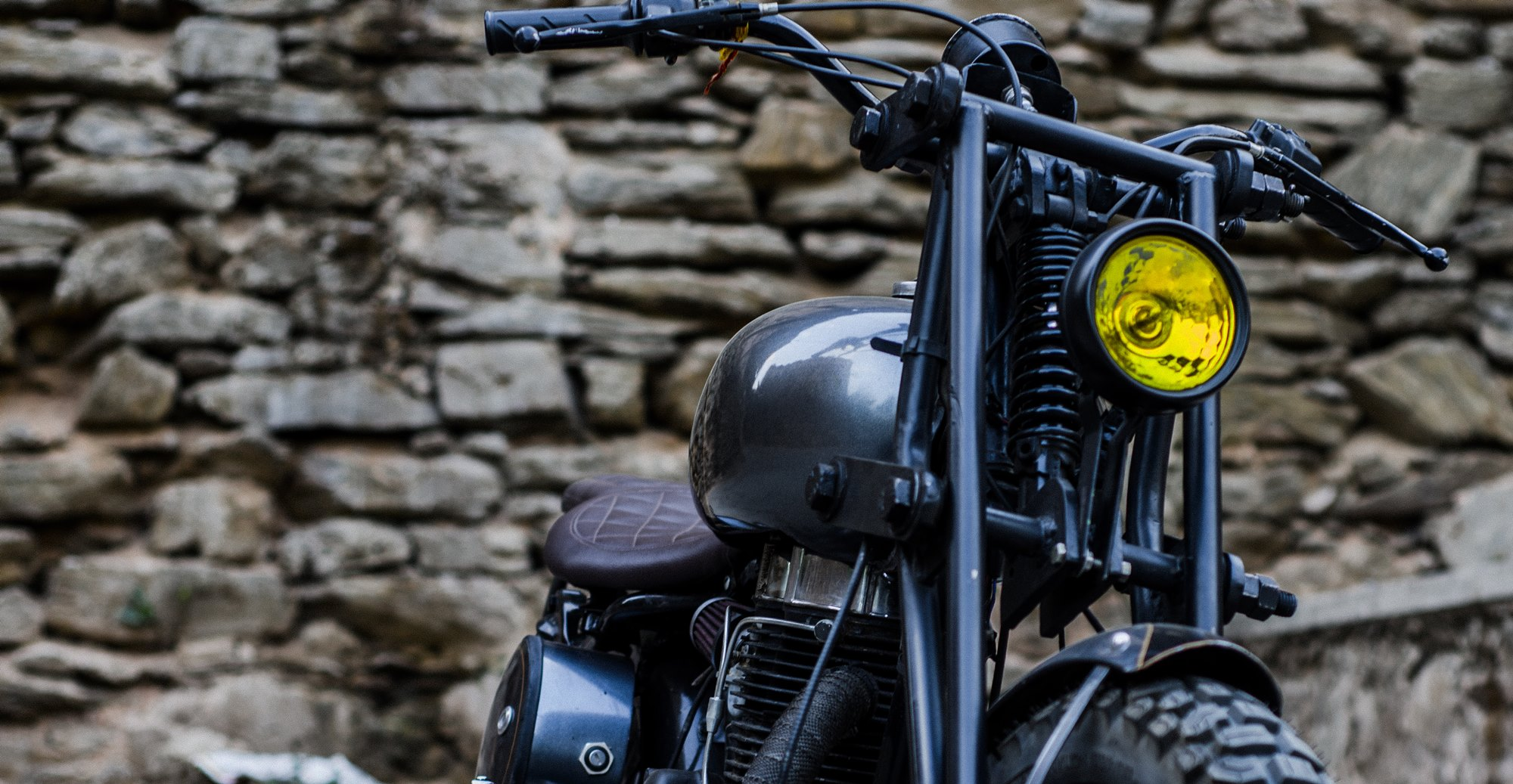 Royal Enfield Bobber with girder fork suspension by Imperial Customs