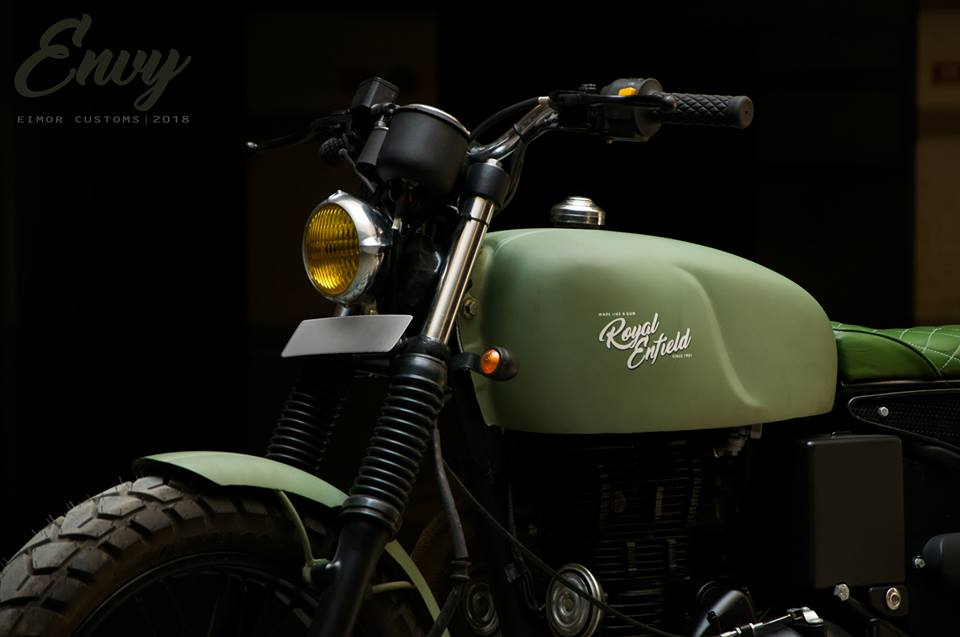 Military Green Cafe Racer Over A Royal Enfield Classic